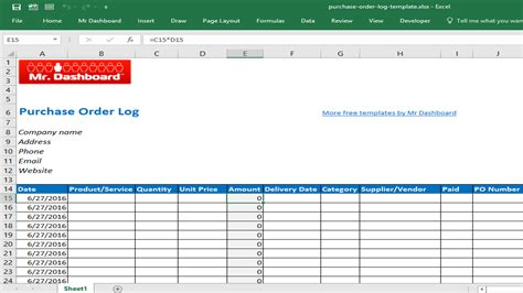 purchase order purchase order template for excel