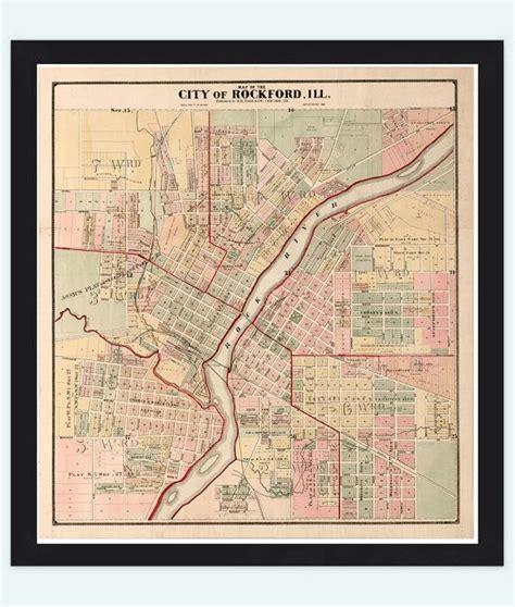 rockford usa map vintage map of rockford illinois 1886 united states