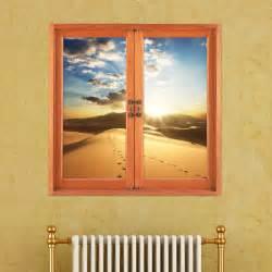 Window Wall Stickers Desert 3d Artificial Window View 3d Wall Decals Sunset