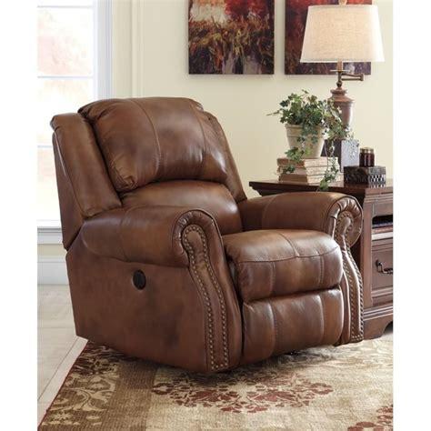 ashley leather recliners ashley walworth leather power rocker recliner in auburn