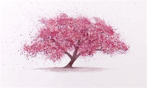 Cherry Bloosom Tree watercolor technique to splatter cherry blossom trees