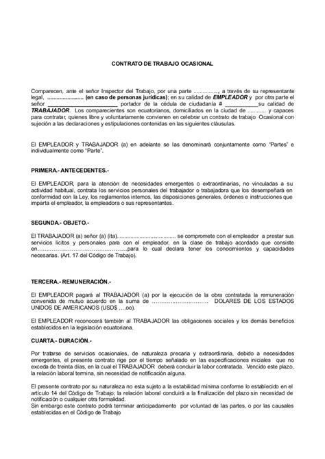Contrato Ocasional | contrato ocasional