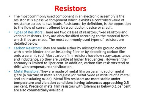 3 types of resistors according to its material composition 3 types of resistors according to its material composition 28 images distribution and