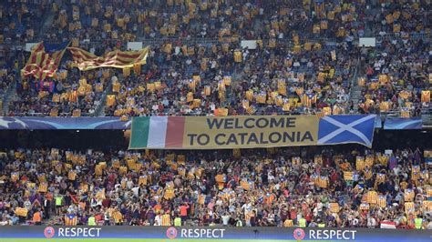 barcelona independence barcelona face another uefa fine as fans wave pro