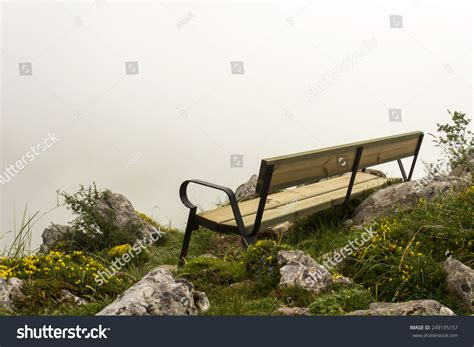 mountain bench mountain bench cloudy day stock photo 249135157