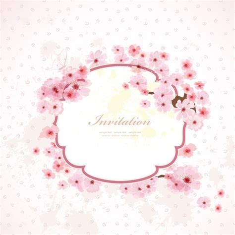 Pink Wedding Invitation Cards by Flower Border Wedding Invitation Free Vector