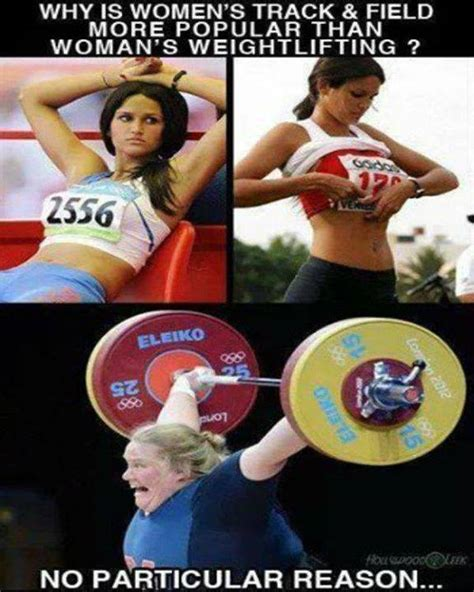 Woman Lifting Weights Meme - why is womens track field more popular than women s