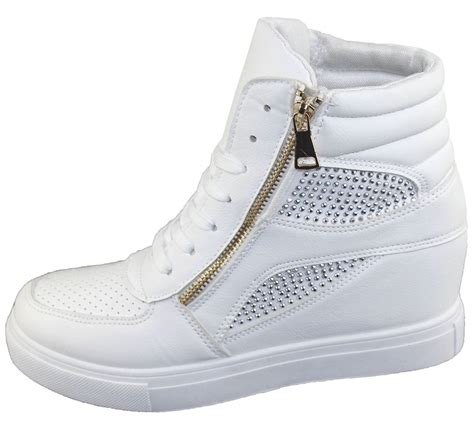 womens high top sneakers part 1 womens girls diamante wedge heel ankle high top trainers
