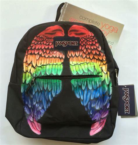 hand painted rainbow wings custom jansport backpack