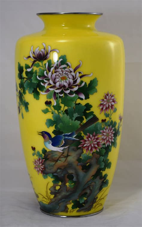 Large Cloisonne Vase by Large Striking Yellow Ground Japanese Cloisonne Vase