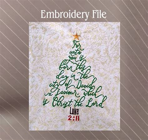 luke  bible verse christmas tree sew fluffy machine embroidery designs
