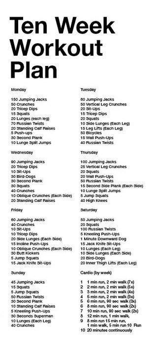 6 week home workout plan best 25 10 week workout plan ideas on pinterest 10 week