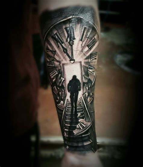 staircase tattoo clock stairs black grey ink tattoos
