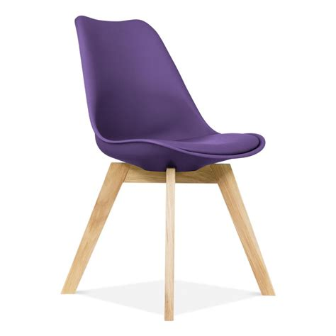 Purple Chair Uk by Purple Eames Chair With Crossed Oak Legs Dining Chairs