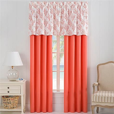 Coral Valance Curtains Isla Window Curtain Panel Pair And Valance In Coral Bed Bath Beyond