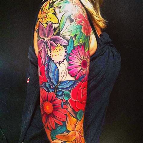 tattoo flower half sleeves flowers and butterfly tattoo on half sleeve tattooshunt com