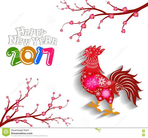 happy new year 2017 with the rooster design for lunar new