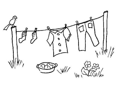Washing Line Outline by Roupa No Estendal Colorir Desenhos