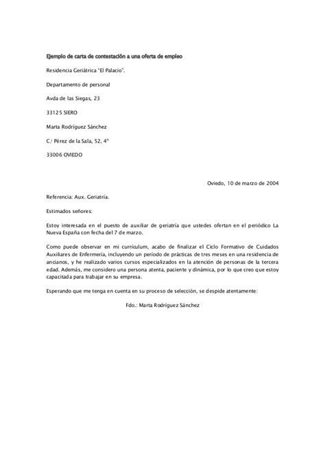 q es carta de oferta ejemplo de carta de contestaci 243 n a una oferta de empleo