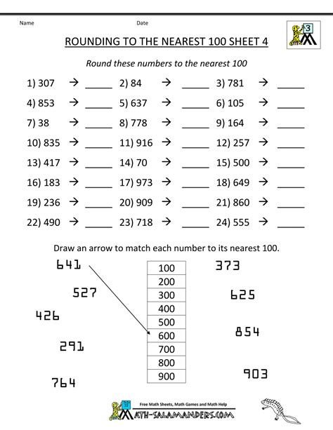 printable number line to 10 000 rounding numbers worksheets to the nearest 100