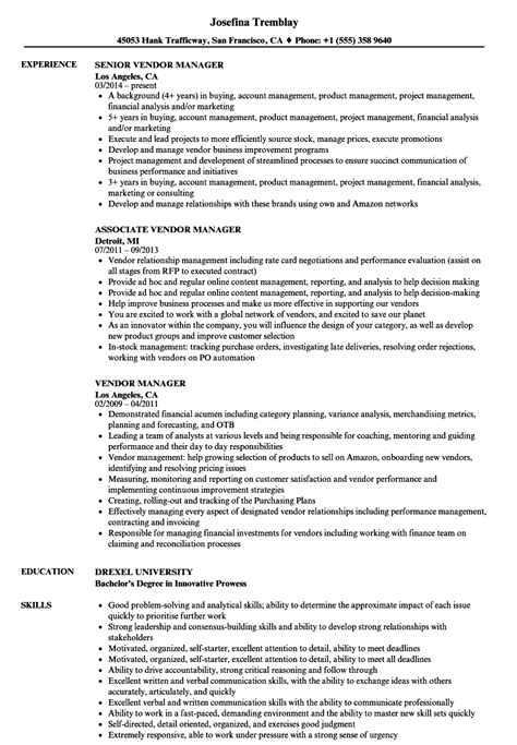 vendor manager resume sles velvet