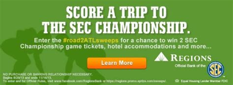Bank Sweepstakes - check out the road2atlsweeps sweepstakes from regions bank saturday down south