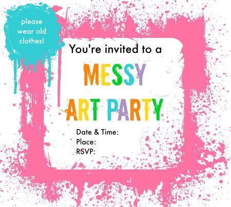 free printable art invitations messy art party invitations art party invitations messy