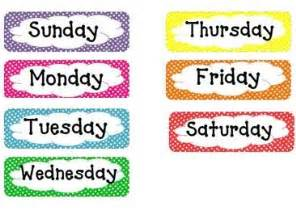 Of The Week Poster Template by Half Day In Pre K