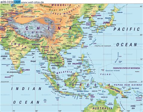 map   east asia general map region   world