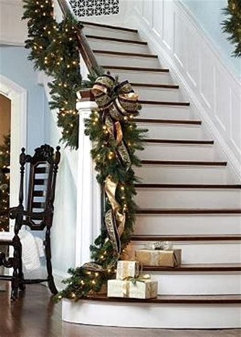garland for stairs christmas staircase decorating ideas pink lover