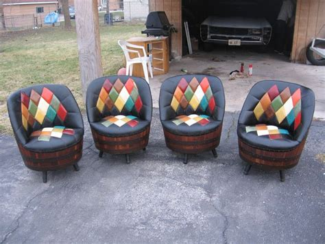 whiskey barrel chairs 1940s set of 4 whiskey barrel argyle pattern swivel chairs