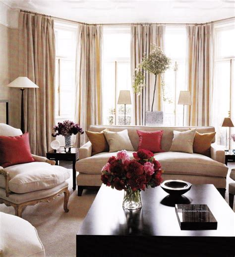 Beige And Pink Curtains Decorating Living Room