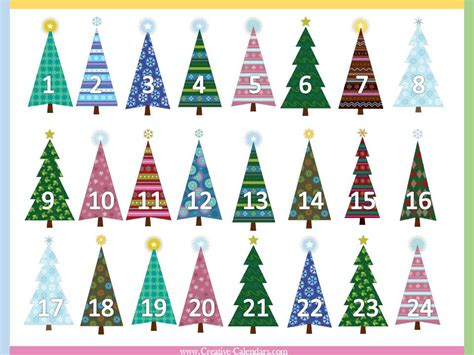 free printable advent calendars