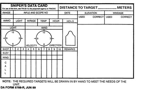 data card templates image result for sniper data book pdf range
