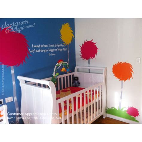 dr seuss nursery wall decals lorax truffula tree wall decals children wall decals