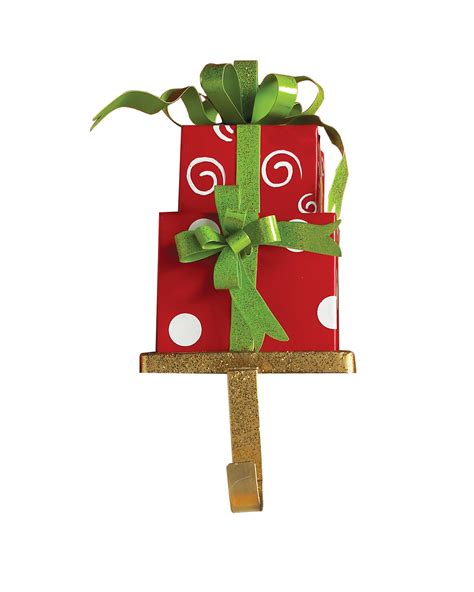 swirls n dots red christmas stocking holder treetopia