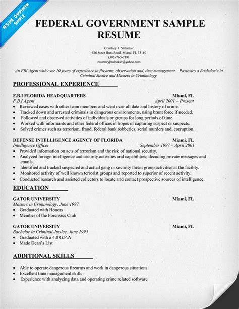 Resume Exles For Government by Federal Government Resume Sle Pictures