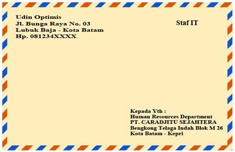 Contoh Kop Surat Lamaran by Cara Menulis Alamat Di Lop Coklat Lamaran Kerja