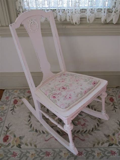 pink antique rocking chair with rachel ashwell fabric