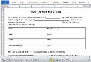 car bill of sale word template motor vehicle bill of sale template for word