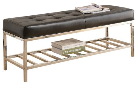 indoor metal bench monarch specialties 4535 bench in black with chrome metal