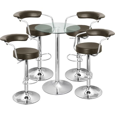 Bar Table And Stool Set by Zenith Bar Stool And Vetro Table Set Brown Drinkstuff
