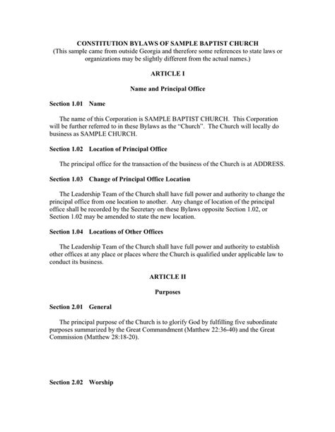 constitution template church constitution sle pdf templates resume