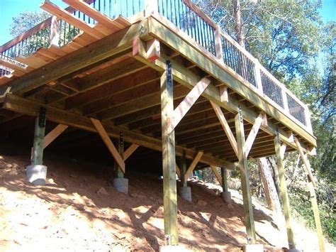 building a house on a steep slope building a 24 x 20 deck on steep slope decking backyard and platform deck