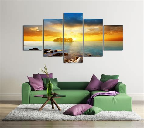 popular wall art for living room 5 panels decorative paintings beautiful seascape sea