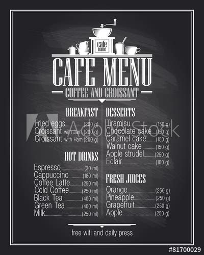 design cafe menu iowa state chalkboard cafe menu list design with dishes name buy