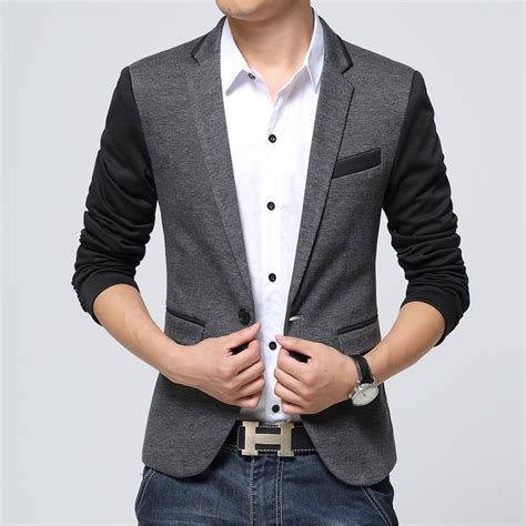 Blazer Pria Modern Blazer Casual Blazer Silver Blazer Murah Korean new slim fit casual cotton blazer size s color gray copy clacent