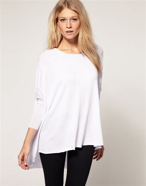 Longsleeve White Brush lyst asos drape sleeve top in white