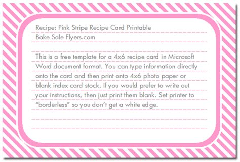 free printable 4x6 recipe card template free 4 215 6 recipe card template bake sale flyers free