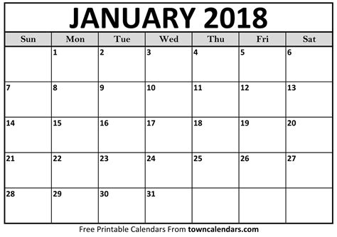 printable calendar for january 2018 printable january 2018 calendar towncalendars com